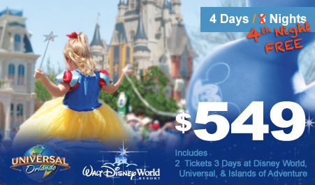 Tickets are valid for one day of admission to Magic Kingdom park, one day of admission to Epcot, one day of admission to Disney's Animal Kingdom theme park and one day of admission to Disney's Hollywood Studios on 4 separate days, and may only be used to .