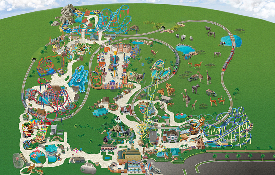 Map of Busch Gardens Tampa Attractions