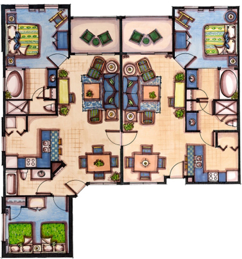 Calypso Cay Villas 3 Bedroom Layout. Disney World Packages at Calypso Cay Villas