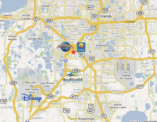 Comfort Inn Universal Map