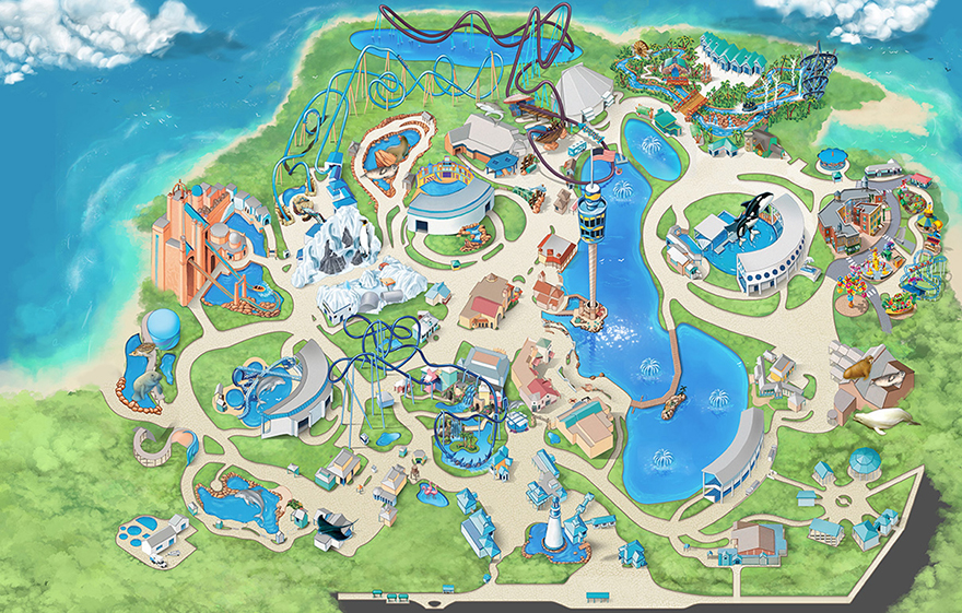 Map of SeaWorld Orlando Attractions