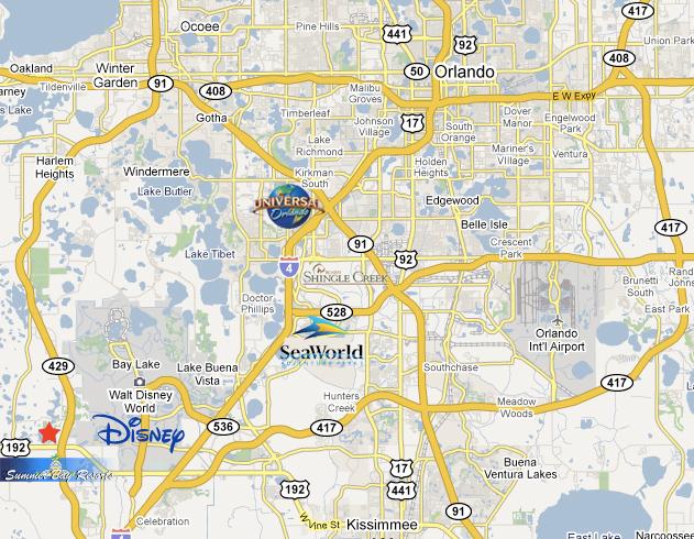 Summer Bay Resort Location Map - Orlando florida on us map